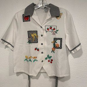 Napa Valley Petites SP Blouse Patches Embroidered
